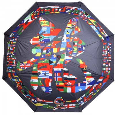 Jackie Chan Design Black Folding Umbrella with Dragon word in country flags