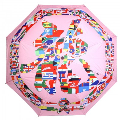 Jackie Chan Design Pink Folding Umbrella with Dragon word in country flags