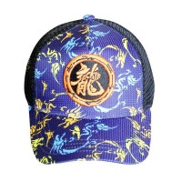 Baseball Cap with Dragon logo and blue camouflage pattern