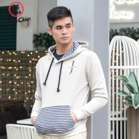 """JC Design 'Simplicity"""" Light Grey Hoody with new Jackie Chan Logo and striped front pocket"""