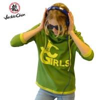 "JC Design Green Long Sleeve Ladies Hoody with  ""JC Girls"" logo"