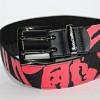 Jackie Chan red Dragon logo overall print belt