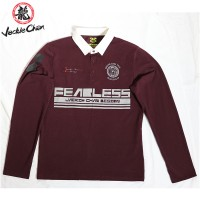 """JC Design """"Fearless"""" logo Long Sleeves Burgandy Polo with white collar"""