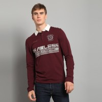 "JC Design ""Fearless"" logo Long Sleeves Burgandy Polo with white collar"