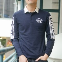 """JC Design """"Fearless""""  and """"Be Brave"""" logo Long Sleeves Blue Polo with white collar"""