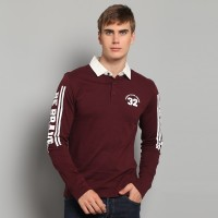 "JC Design ""Fearless""  and ""Be Brave"" logo Long Sleeves Burgandy Polo with white collar"