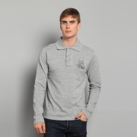 JC Design Silverish Grey Dragon Chinese word logo Long Sleeves Polo with printed collar