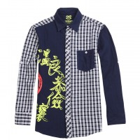 JC Design 5 virtues in Chinese characters long sleeve shirt
