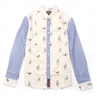JC Design Slim cut long sleeves shirt with blue stripes on sleeves and deer logos