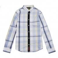 JC Design Slim cut long sleeves shirt in light blue and white plaid
