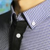 JC Design Slim cut long sleeves shirt in  light blue and white small checkers