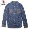 JC Design Slim cut long sleeves shirt in blue paisley pattern