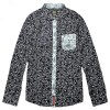 JC Design Slim cut long sleeves shirt in deep blue floral pattern