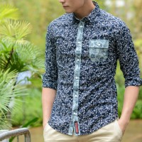 JC Design Slim cut long sleeves shirt in deep blue floral pattern