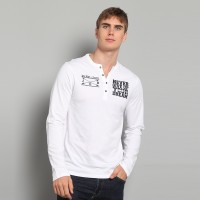 "JC Design White Long Sleeve Henley shirt with slogan ""Never Give Up Your Dream"""