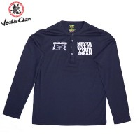 """JC Design Blue Long Sleeve Henley shirt with slogan """"Never Give Up Your Dream"""""""