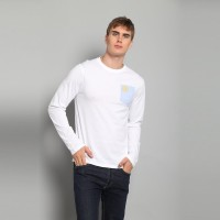 JC Design White Long Sleeve tee with dragon logo print on small light blue pocket on chest