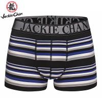 Jackie Chan Men's Brief in Blue/Black/Grey/White stripes and black logo