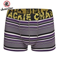 Jackie Chan Men's Brief in Purple/Black/Grey/White stripes and yellow vintage logo