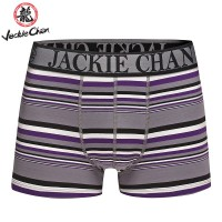 Jackie Chan Men's Brief in Purple/Black/Grey/White stripes and black logo