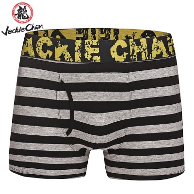 Jackie Chan Men's Fly-Front Brief in Black/Grey stripes and yellow vintage logo