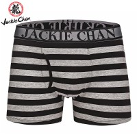 Jackie Chan Men's Fly-Front Brief in Black/Grey stripes and black logo
