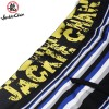 Jackie Chan Men's Fly-Front Brief in Blue/Black/Grey/White stripes and yellow vintage logo