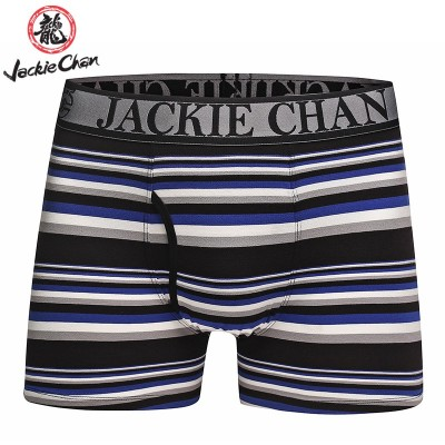 Jackie Chan Men's Fly-Front Brief in Blue/Black/Grey/White stripes and black logo