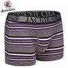 Jackie Chan Men's Fly-Front Brief in Purple/Black/Grey/White stripes and black logo