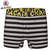 Jackie Chan Men's Button Fly Brief in Black/Grey stripes and yellow vintage logo