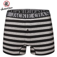 Jackie Chan Men's Button Fly Brief in Black/Grey stripes and black logo