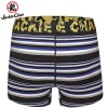 Jackie Chan Men's Button Fly Brief in Blue/Black/Grey/White stripes and yellow vintage logo