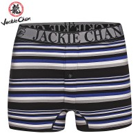 Jackie Chan Men's Button Fly Brief in Blue/Black/Grey/White stripes and black logo