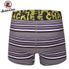 Jackie Chan Men's Button Fly Brief in Purple/Black/Grey/White stripes and yellow vintage logo