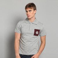 JC Design  Short Sleeves Polo with dragon Chinese word print on the chest pocket