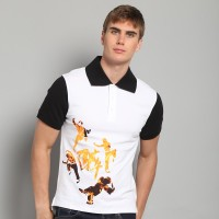 JC Design White Short Sleeves Polo with drunken fist print on the front