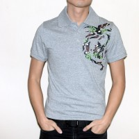JC Design Grey Short Sleeves Polo with Dragon print on the front