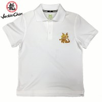 JC Design White Short Sleeves Polo with Gold Dragon print on the front