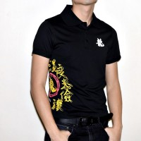 JC Design Black Short Sleeves Polo with Chinese 5 virtues print