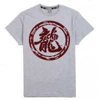 JC Design Grey Short Sleeve Tee Shirt with Burgandy Dragon Logo