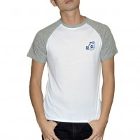 JC Design White Color Short Sleeve Tee Shirt with JC Design logo on grey sleeves
