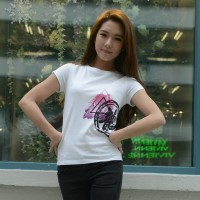 JC Design White Color Short Sleeve Ladies Tee Shirt with splash dragon logo