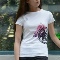 JC Design White Color Short Sleeve Ladies Tee Shirt with splash dragon logo