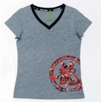 JC Design Grey Color Short Sleeve Ladies Tee Shirt with camouflage dragon logo