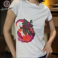 JC Design White Color Short Sleeve Ladies Tee Shirt with swirl and dragon logo