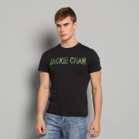 JC Design Black Color Short Sleeve Tee Shirt with camouflage Jackie Chan logo