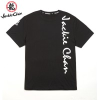 JC Design Black Color Short Sleeve Tee Shirt with silver Jackie Chan print