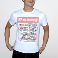 JC Design White Color Short Sleeve Tee Shirt with multiple flags in DUANG logo