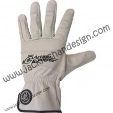 Action & Power Leather Gloves (Full Fingered - White)
