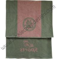 Dragon Logo JC Sports Bath Towel - Grey with Pink Stripe
